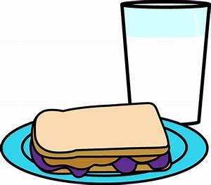 Milk with Peanut Butter & Jelly Sandwich Clip Art - Milk ...