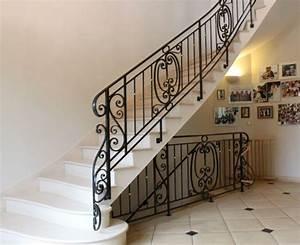 Escalier Fer Et Bois : escalier bois acier beton cire marbre ou carrelage garde ~ Dailycaller-alerts.com Idées de Décoration