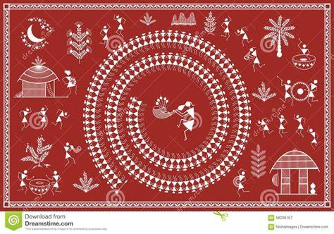indian tribal painting warli painting stock illustration
