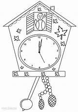 Clock Coloring Clocks Printable Colouring Cuckoo Cool2bkids Kindergarten Grandfather sketch template