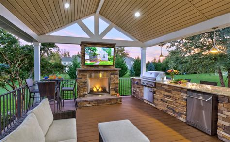 outdoor kitchen fireplace television  sound system