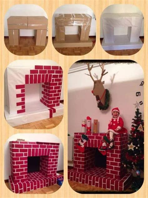 cardboard fireplace diy  christmas home design