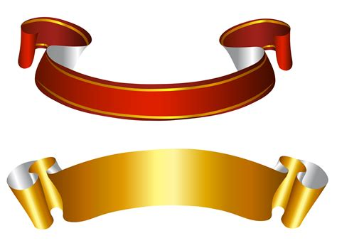 gold  red banners transparent png picture vintazh