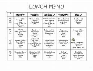 8 best images of printable preschool lunch menu With blank daycare menu template