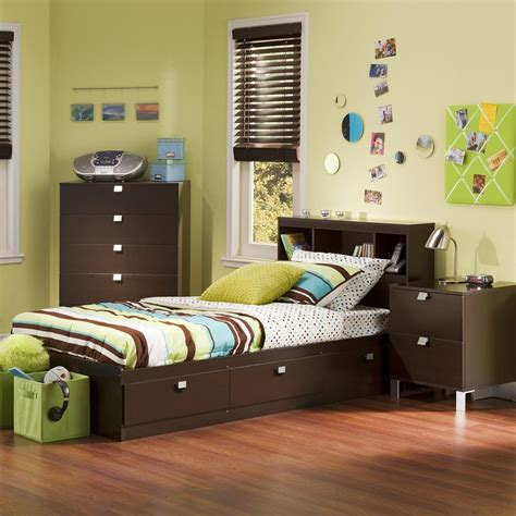 south shore spark  piece chocolate twin bedroom set