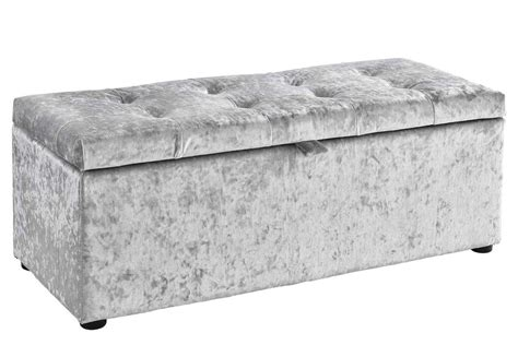 ottomans with storage ottoman storage chest bedroom blanket box silver crushed