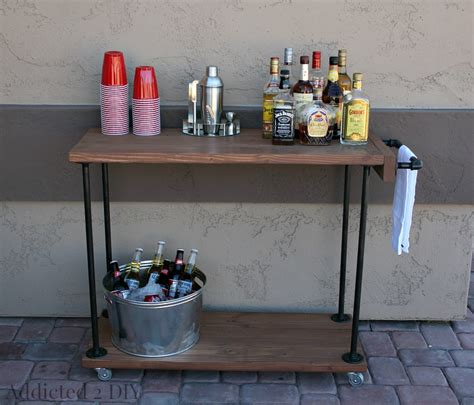 diy rustic industrial bar cart addicted  diy