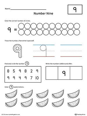Number 9 Practice Worksheet  Numbers & Counting  Numbers Preschool, Kindergarten Math