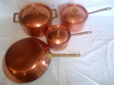 set  vintage  paul revere copper clad cookware pots