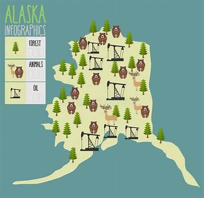 Alaska Resources Natural Map Animals Oil Wood