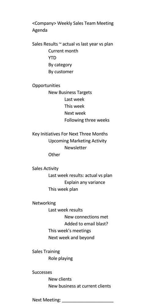 guide  weekly meeting agenda   templates