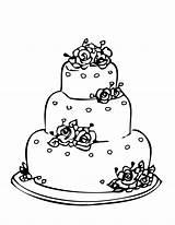 Cake Coloring Pages Wedding Round Cakes Printable Drawing Princess Birthday Gateau Sketch Disney Para Spongebob sketch template