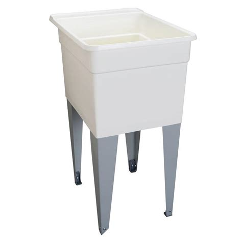 mustee 18 in x 24 in plastic utilatub single laundry tub in white 21f the home depot