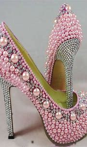 Women High Heel Pink Pearl Crystal Shoes | Pink = sassy ...