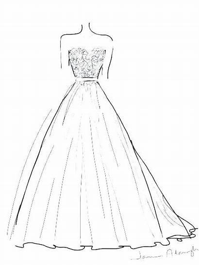 Coloring Drawings Dresses Princess Printable Gown Elegant