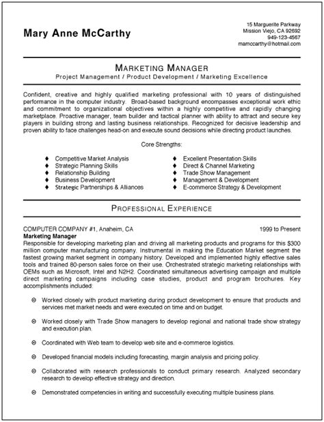 best resume format for marketing executive sle marketing resume sle resumes