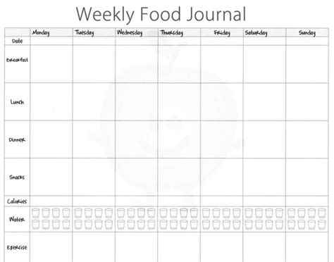 food diary template 5 free food journal templates excel pdf formats