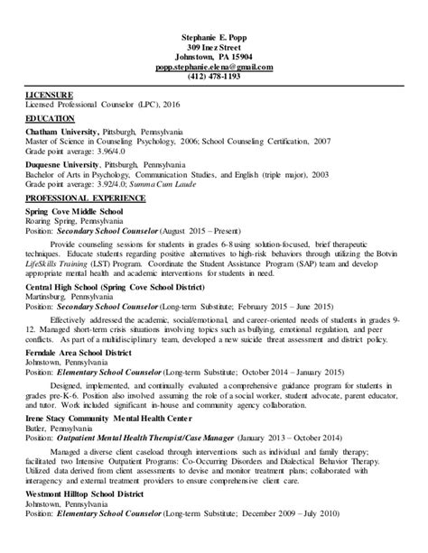clinical mental health resume with active licensure lpc