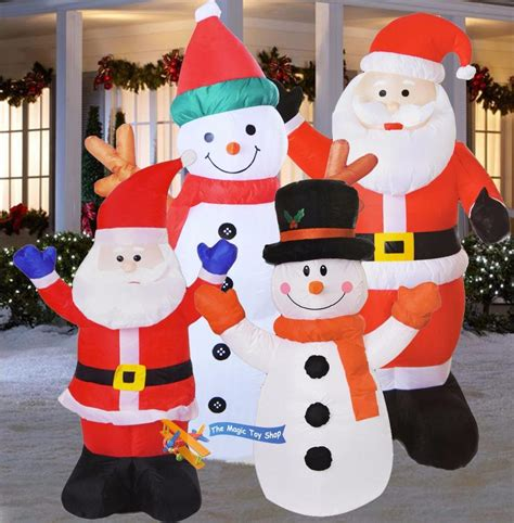 large inflatable santa snowman outdoor airblown xmas