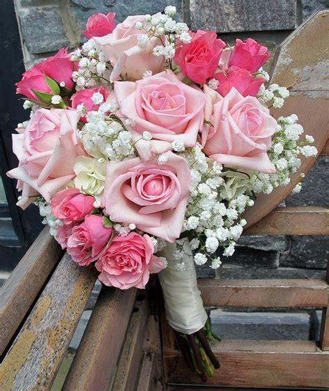 pink roses  babys breath bridal bouquets pinterest