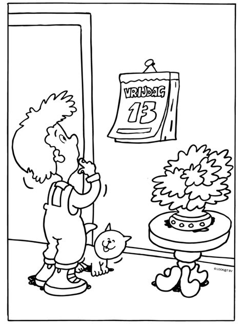 😱   we willen je niet ongerust maken, maar het is vandaag vrijdag de 13e. Kleurplaat Vrijdag de 13e? kalender - Kleurplaten.nl