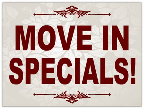 Move In Specials Sign 101 | Apartment Sign Templates ...