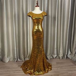 Gold Sequin Evening Dress Sexy Backless Cap Sleeve Formal ...