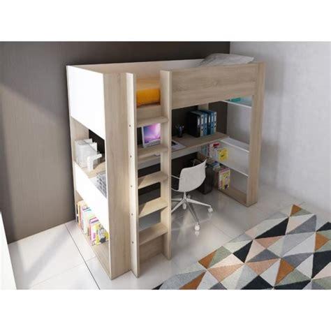 lit et bureau lit mezzanine noah avec bureau et rangements intégrés