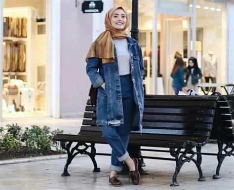 hijabers    memakai jaket denim  tetap chic