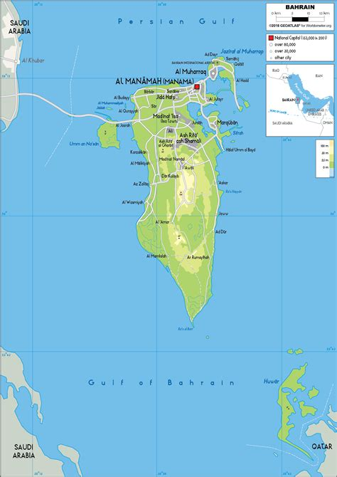 Large size Physical Map of Bahrain - Worldometer