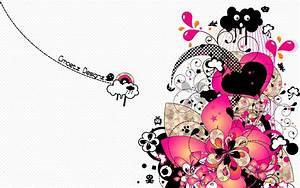 Pink Black Flower Heart Cloud wallpapers | Pink Black ...