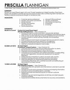 Air import export agent resume examples government for Import resume into template