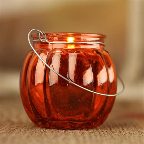 pumpkin candle holder glass pumpkin candle holder table decor fall and