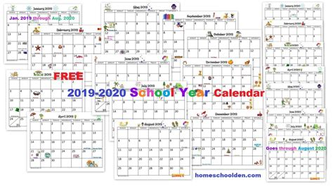 calendar printable homeschool den