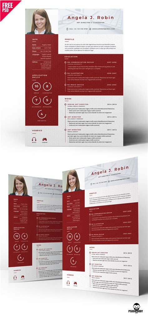 Resume Creator Creative by Professional Free Resume Template Psd Psddaddy