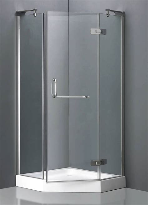 Aluminum Frame Neo-Angle Shower Enclosure w/ Hinged Door