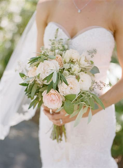 Simple White Green And Blush Wedding Bouquet From Willi
