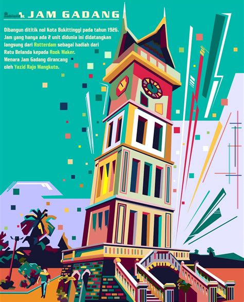 jam gadang  bukit tinggi sumatera barat kota bukittinggi ilustrasi seni