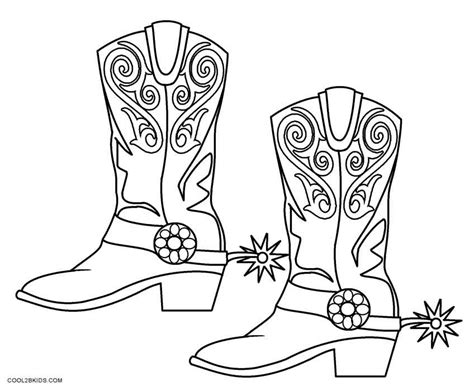 Printable Coloring Pages Cowboy Boots