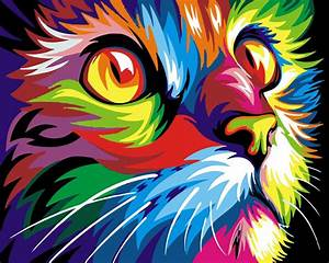 Frameless Colorful Cat DIY Painting By Numbers Abstract