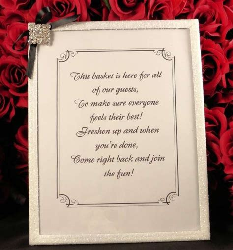 unplugged wedding poem sign  bathroom basket amenities