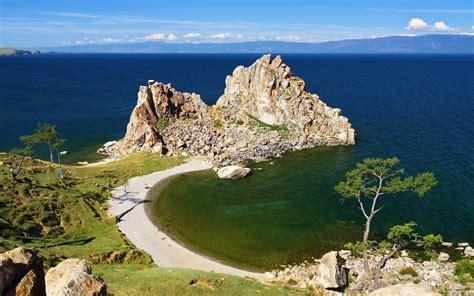 russia lake scenery coast baikal crag nature