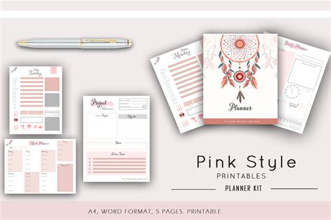 pink daily planner printable productivity planner