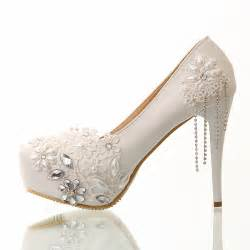 wedding shoes white aliexpress buy wedding whoes handmade white lace tassel ultra high heels platform