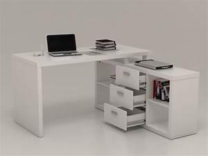 Bureau Ikea Pas Cher : bureau d 39 angle aldric ii 3 tiroirs 2 tag res blanc ~ Teatrodelosmanantiales.com Idées de Décoration
