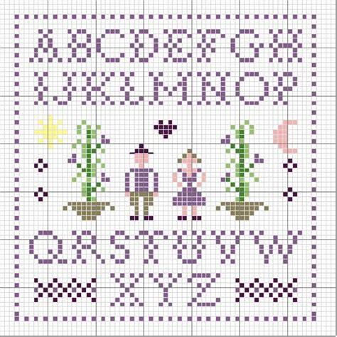 semplice alfabeto lettere punto croce colore viola