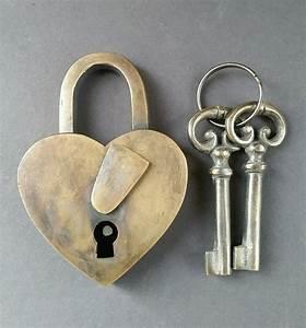 Vintage Love Heart Forever PADLOCK SKELETON Keys Brass ...