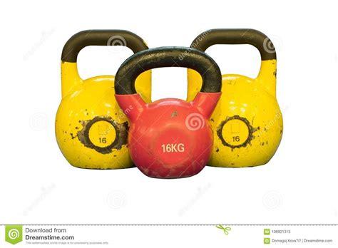 workout equipment yellow kettlebells isolated