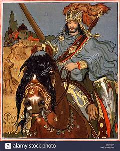 Sir Lancelot on horseback by Howard Pyle from The Lady of Shalott Stock Photo, Royalty Free