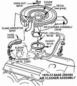 1970-72 Base 350  454 Air Cleaner Assembly - Diagram View